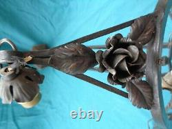 Former Art Deco Chandelier By Schneider In Glass With 3 Tulips 1 Shell Degue Muller