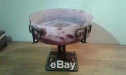 Former. Art Deco. Cutting Glass Paste And Foot Wrought Iron. Signed Lorraine