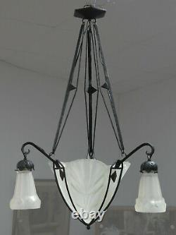 Former Art Deco Lustre By Degué In Pressed Moulded Glass