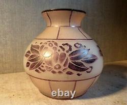 Former Moda Art Deco Round Vase For Signed Acid-free Daum