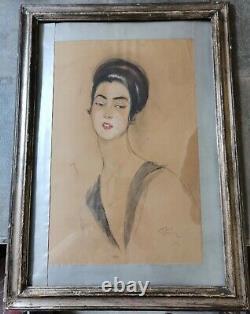 Former Original Drawing By Jean-gabriel Domergue