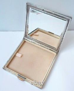 Former Powder Maker Signed Hermes Paris Silver - Ruby Calèche Silver Powder Box