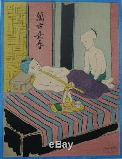 Foujita The Original Lithographie Smoking Opium Signed Color # 1928