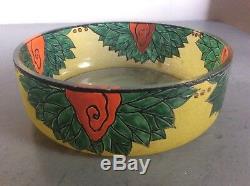 Fruit Bowl Blown Glass Enamelled Relief With Floral Decoration Signed Leune Art Deco