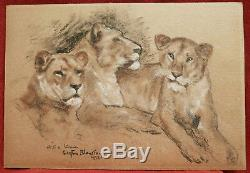 Gaston Blondeau Drawing Lion Lioness Fawn Table Art Animal Art Deco Animals