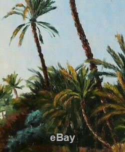Gaston Delpard Orientalist Painting Canvas Landscape Oil Palm Tunisia Tozeur