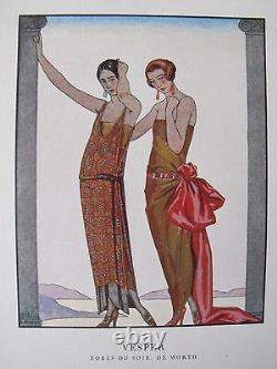 George Barbier Vesper Gazette Bon Ton 1922 Pl. 60 Dresses Worth