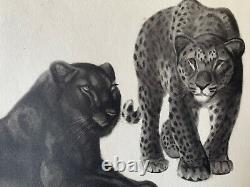 Georges Lucien Guyot Lithographie Black Panther Panther Tiger Spirit Paul Jouve