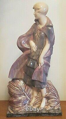 Germaine Granger Women's Sculpture Art Deco Cracked Signed