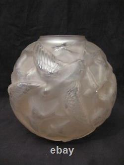 Glass Ball Vase With Swallows Signed Arvers Art Deco Era