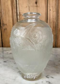 Glass Vase Vintage Art Deco 1920 Signed Sabino France Floral Decor