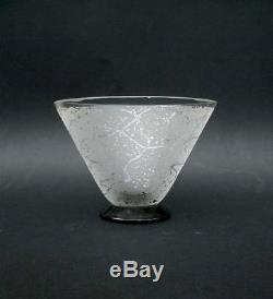Gorgeous Vase Art Deco Cup Clear Glass Acid Sign Daum Nancy