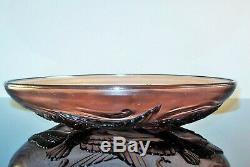 Grand Art Deco Glass Cup Mold Japanese Fish Birds Sign Sabino Verlys