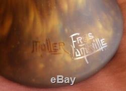 Grand Baluster Vase Glass Paste Deco Signed Muller Brothers Lunéville Art