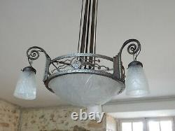 Grand Chandelier Art Deco Wrought Iron And Glass Signed Noverdy
