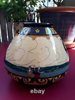Grand Vase Boule, Henriot Quimper, Signed J. E. Sevellec, Art-deco 1920-1930