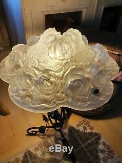 Great Art Deco Lamp Art Nouveau Fungus Foot Wrought Iron Cauldron Signed