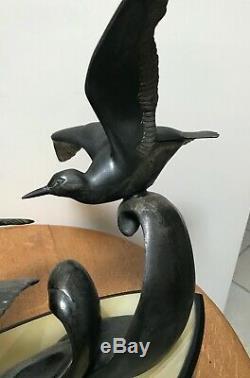 Great Art Deco Sculpture Three Seagulls Signed Irenaeus Rochard Circa1930