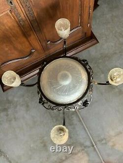 Great Chandelier Art-deco Wrought Iron And Molded Glass Signed Schneider