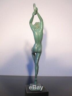 Guerbe Old Woman Dancer Statuette. Art Deco. Max Le Verrier. Signed