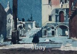 Henri Rivière 1864-1951. Magnificent - Great Watercolor. An Animated View From Venice