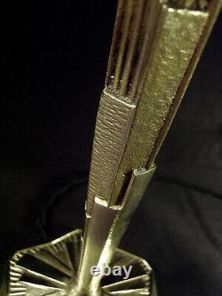Hettier - Vincent Lampe Art Deco In Bronze - Tulip In Pressed Glass Signed 1930