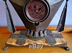 Jaz Pendulum Art Deco Wrought Iron Africanist 1930 Signed Brandt Style Subes