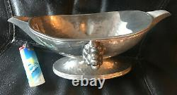 Jean Despres Sauceboat Signed Hammered Polished Silver Decorated Fruit Bunches