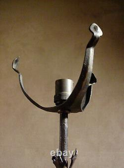 Keppel Nancy Lamp Foot Signed In Wrought Iron Hammered And Repelled 1920
