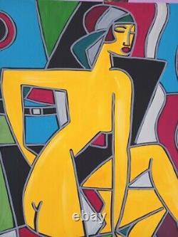 Kleyman Superb Painting Side Akoun 70x50 Kiki From Montparnasse Direct Artist