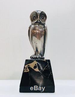 L. Rigot Sculpture Bronze Silver Owl Signed Dune. Art Deco Period