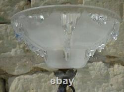 Lamp Art Deco 1920 1930, Forged Iron Base And Globe Signed Ezan