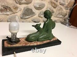 Lamp Art Deco 1930 Woman Regulates Bronze Patina On Marble Base Signe Balleste R
