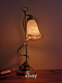 Lamp Art Deco Bronze. Glass Pate Tulip Signee Muller Freres