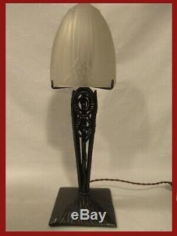 Lamp Art Deco Signed Sonover Henri Fournet The Iron 1930 Lamp Degué Muller
