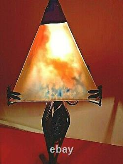 Lamp Art Deco, Wrought Iron Foot, Glass Paste, 1920, Signed The Francais Verre