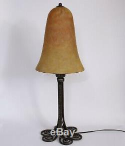 Lamp Art Deco Wrought Iron Signed Edgar Brandt And Daum Nancy