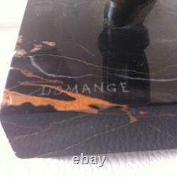 Lamp Veilleuse Art Deco Marble And Regule Sign Domange-pierrot A La Mandoline