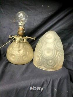 Lampe Champignon Pierre D'avesn Signed Art Deco1930 Moulded Glass No Lalique Daum