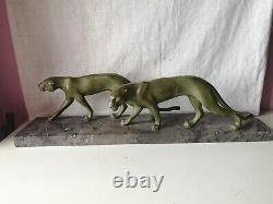 Large Art-deco Sculpture Of Two Panthers In Cast Iron Of Art Signed M Font