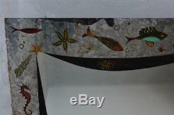 Large Mirror 1950 Style Glass Églomisé Signed Artha