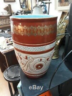 Large Vase Faience Art Nouveau Deco 3x Sign Galle Rare Cache Pot