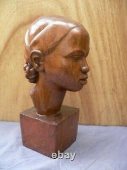 Large Wood Sculpture C. Andrea Art Deco 1930 Wood Statue Enorme Cote Africaniste