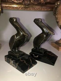 Laurent Gh & Guillemard Founder. Serre Books Pelican In Bronze Art Deco Signed