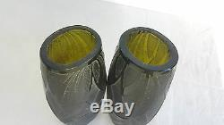 Legras Pair Of Vases Early Twentieth Grave Sign Acid Vase Soliflore Glass Art Deco