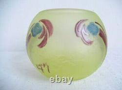 Legras, Vase Engraved With Art Deco Acid, Signed, In Uralin