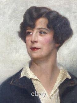Leon Galand Superb Portrait Of An Elegant Art Deco Sign Date 1926 H/t Woman