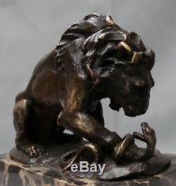 Lion Statue Snake Style Art Deco Art Nouveau Bronze Massive Sign