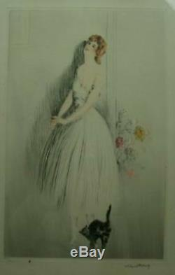 Lithography Engraving Art Deco Elegante Au Chat Signed Albert Ferro Gout Icart
