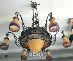 Luster Art Deco Lamp Sign Muller French Applies Degue Viti Vini Cellar
